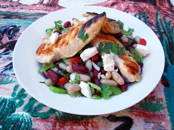 Bean salad with chicken tenders