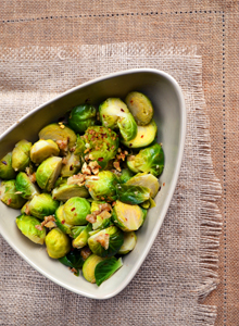 Brussels sprouts, toasted walnuts and chili
