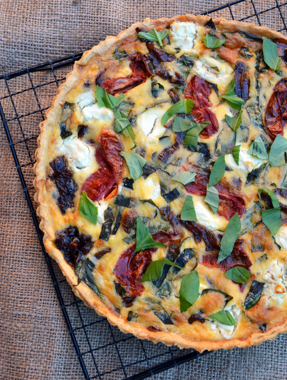 Caramelised onion and roast tomato tart