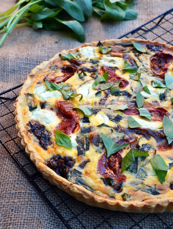 Caramelised onion, roast tomato, basil tart