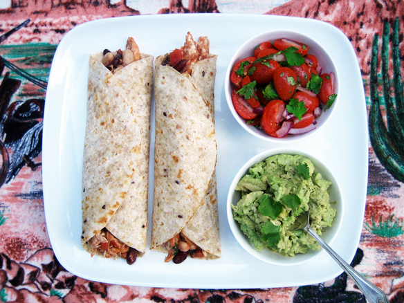 Chicken and bean tortillas with tomato salsa