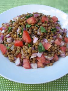 Lentil and tomato salad