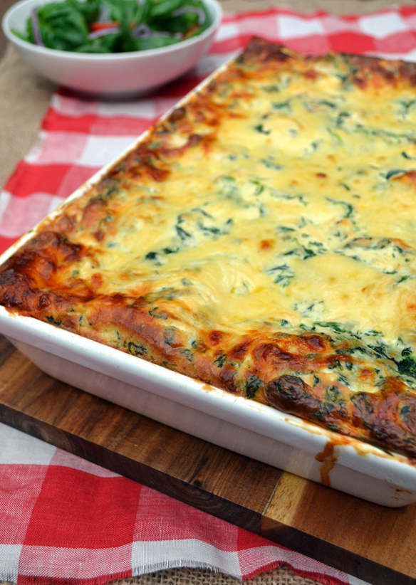 Lasagna with ricotta and spinach