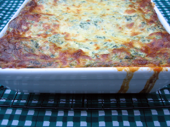 Ricotta, spinach and beef lasagna
