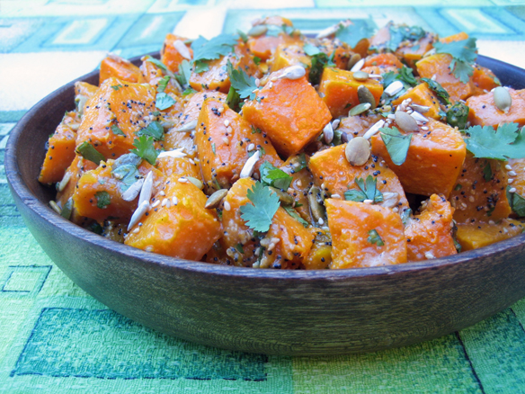 Roasted pumpkin and mixed seed salad