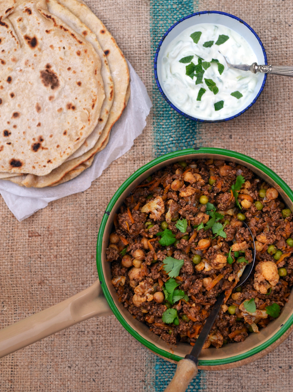 Keema mattar (Indian spiced mince lamb and peas). One Equals Two.