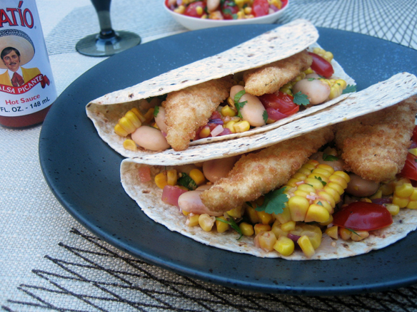 Wraps with crumbed whiting and succotash