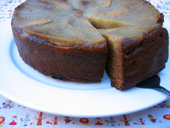 Upside-down fejoia apple ginger cake