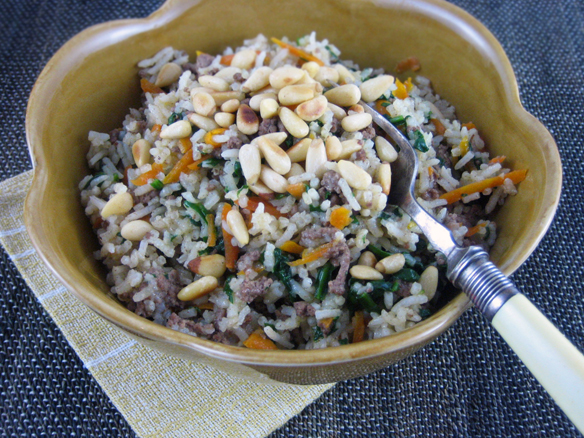 Lamb, spinach and pine-nut pilaf