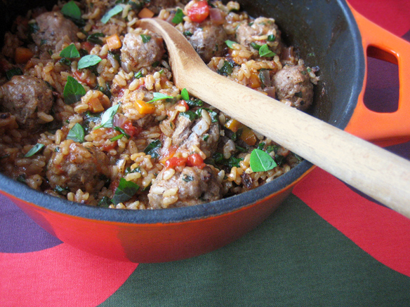 Baked risotto with meatballs