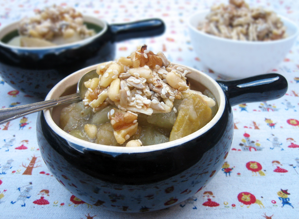 Poached apple and feijoia