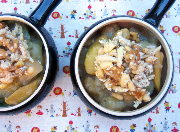 Poached feijoia with honeyed nuts