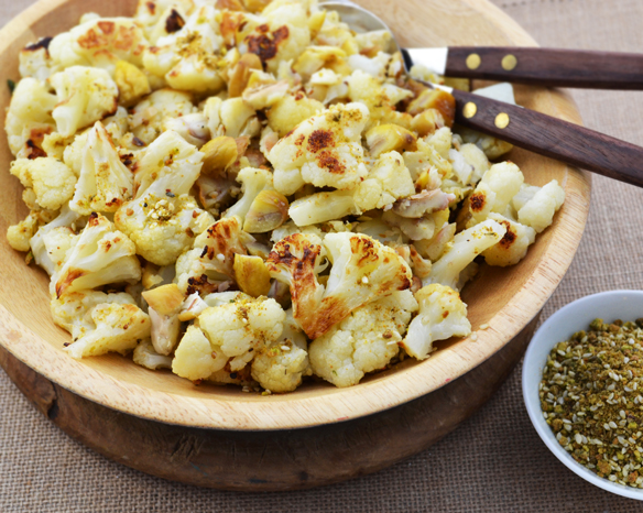 Roasted cauliflower and chestnuts with dukkah