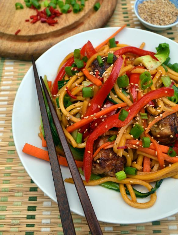 Tsukune noodle stir-fry