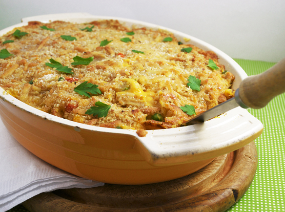 Tuna casserole with rice base