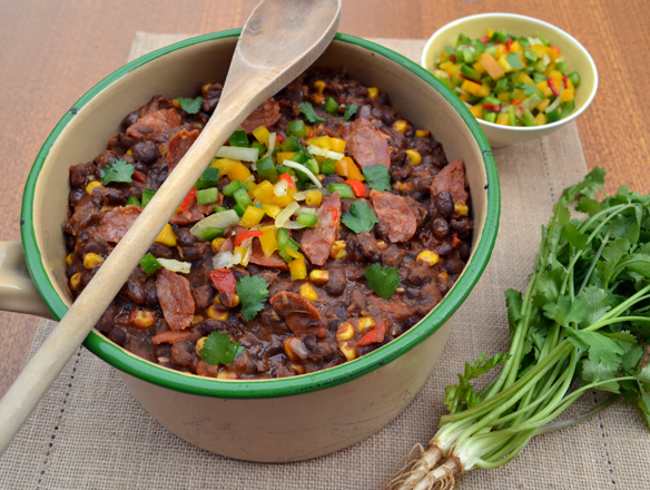 Black bean, corn and chorizo stew