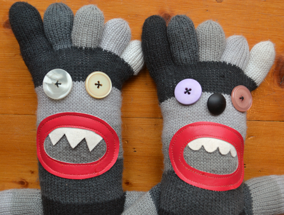 Sock monster dolls detail