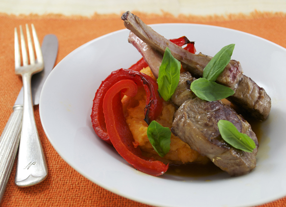 Lamb cutlets with sweet potato mash