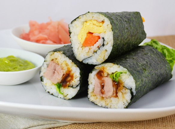 Home made sushi hand rolls
