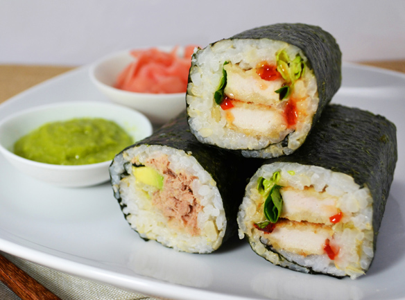Sushi hand rolls tuna and chicken