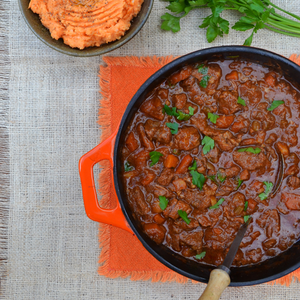 Beef and Guinness stew with sweet potato mash