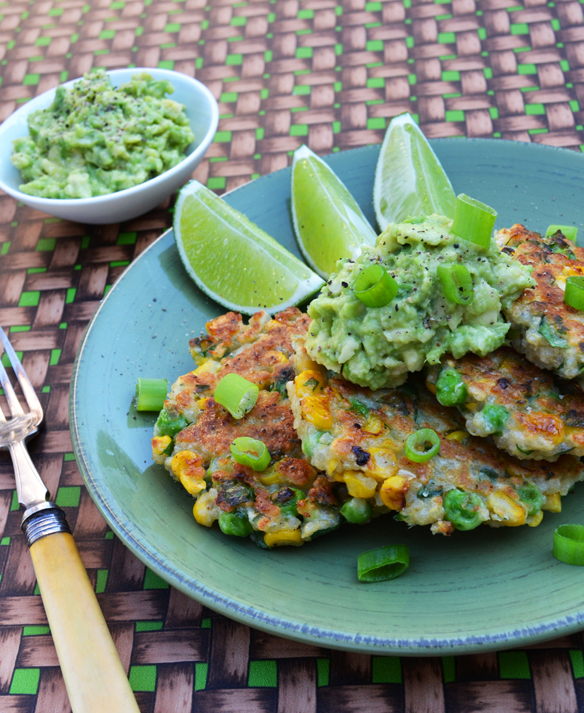 Corn, pea and quinoa fritters