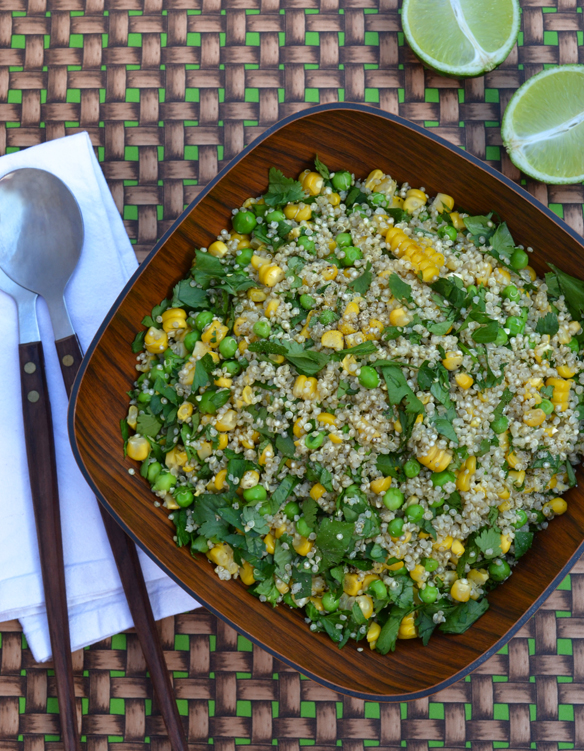 Roast corn, quinoa and pea salad