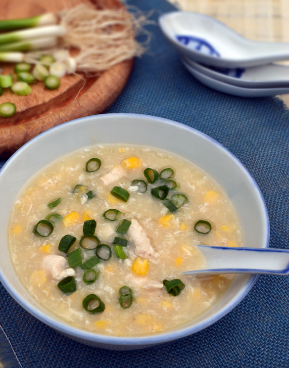 10 minute chicken and corn soup