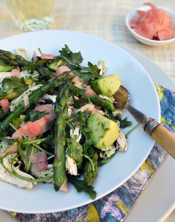 Poached chicken and asparagus salad