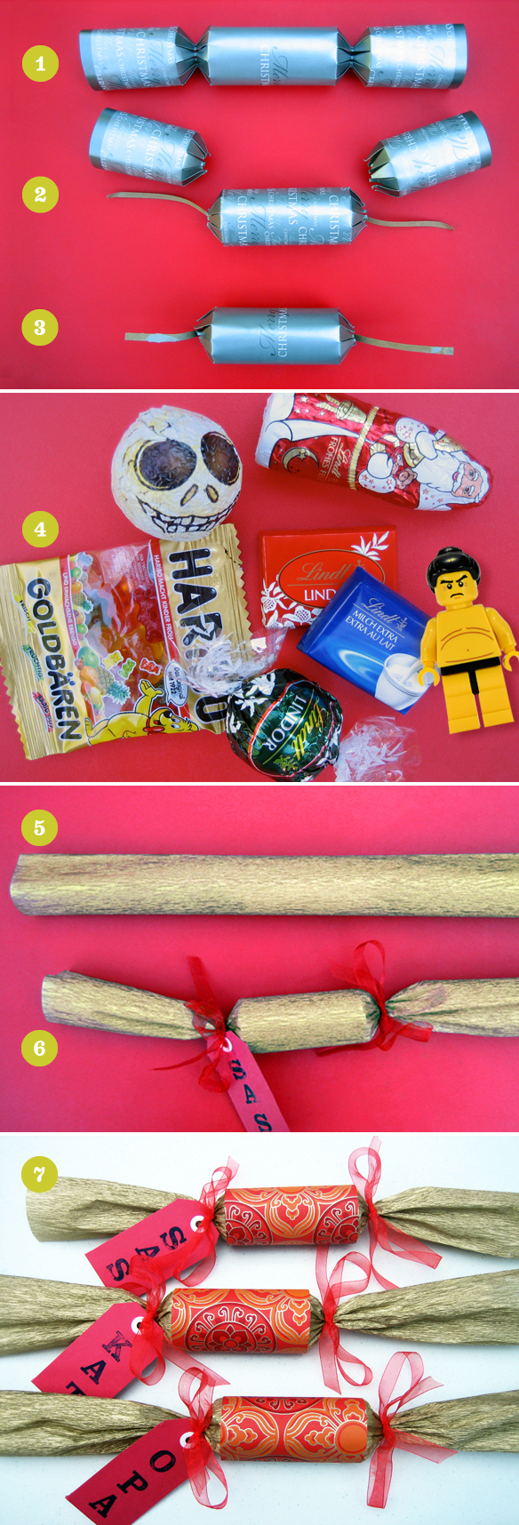 DIY Christmas crackers bonbons step by step