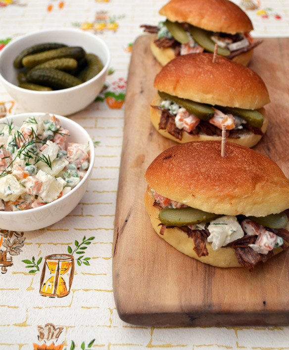 Beef brisket sliders with Russian salad
