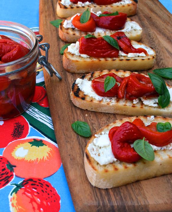 Roast capsicum bruschetta
