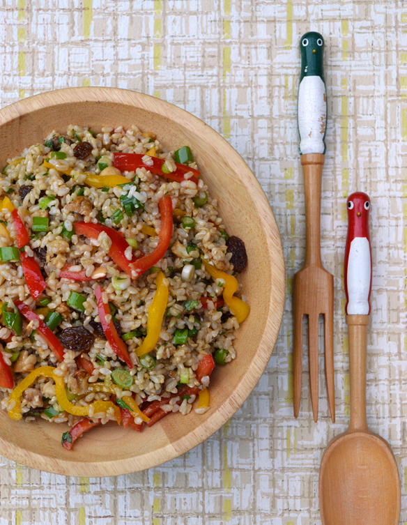 Brown rice, ginger and mixed nut salad