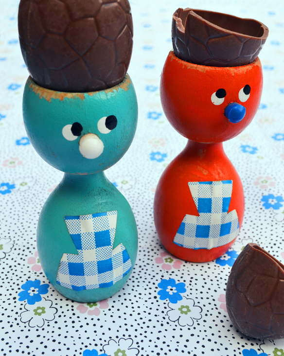 Vintage wooden egg cups