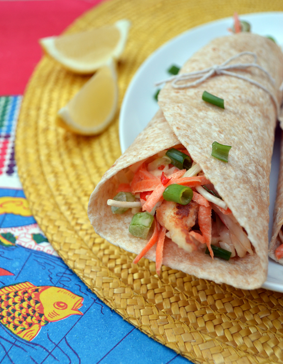 Fish and chilli slaw wraps