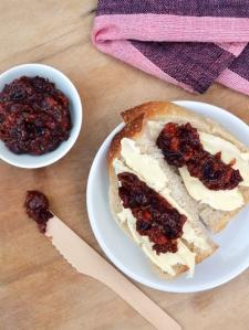 Cranberry and goji berry jam on sourdough