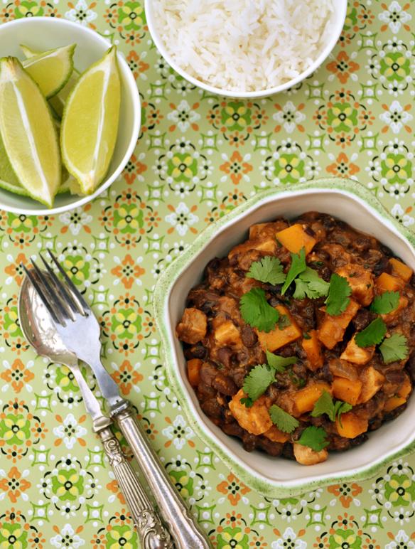 Black bean, pumpkin and fish stew