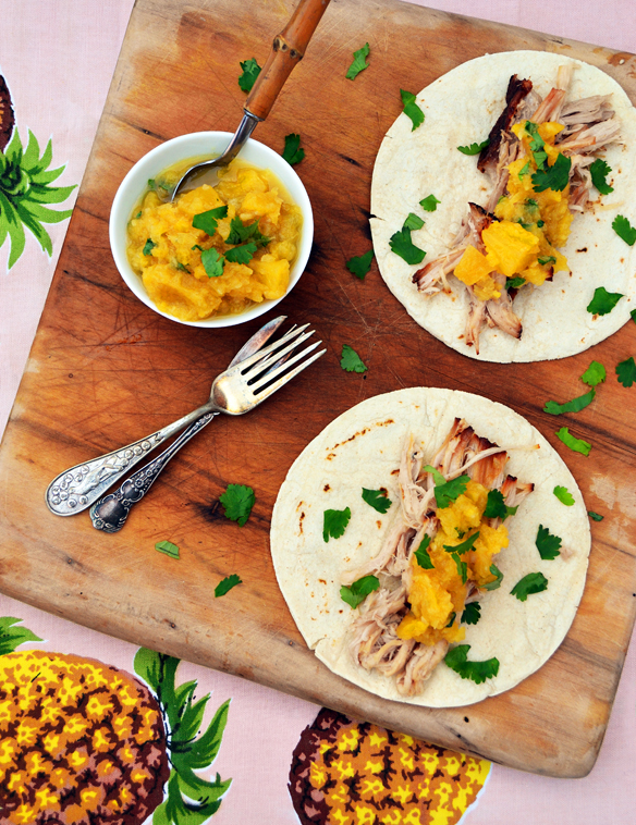Pork belly tacos with pineapple relish