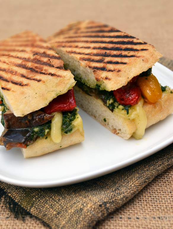 Ratatouille and pesto toasties