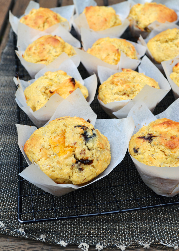 Orange, mixed fruit and chia muffins