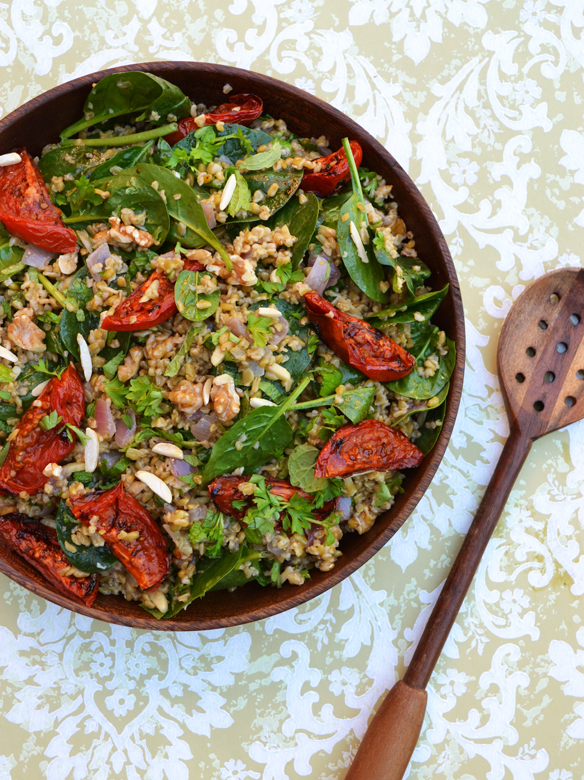 Freekeh salad with mixed nuts