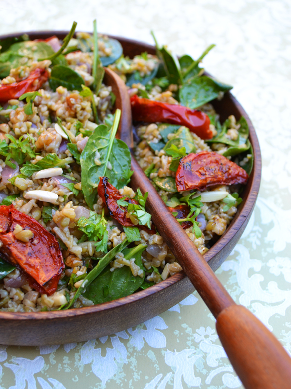 Freekeh salad with roasted tomatoes