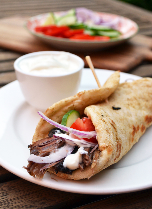Home made lamb gyro with garlic sauce