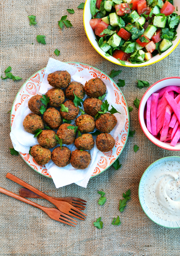 Falafel with farro and chickpeas