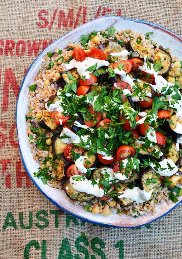 Farro and chickpea salad with tahini sauce