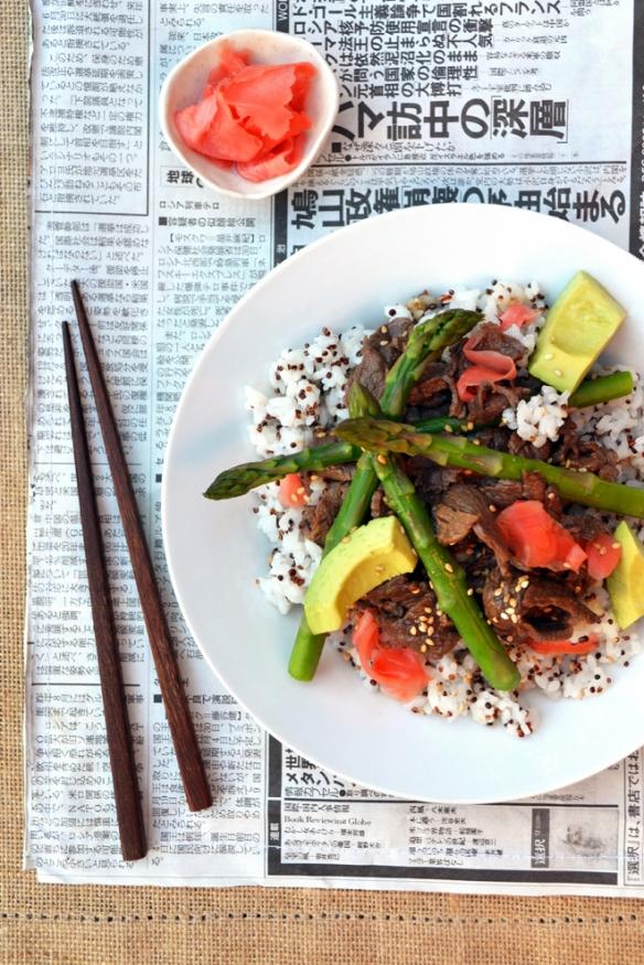 Teriyaki beef rice bowl. One equals Two
