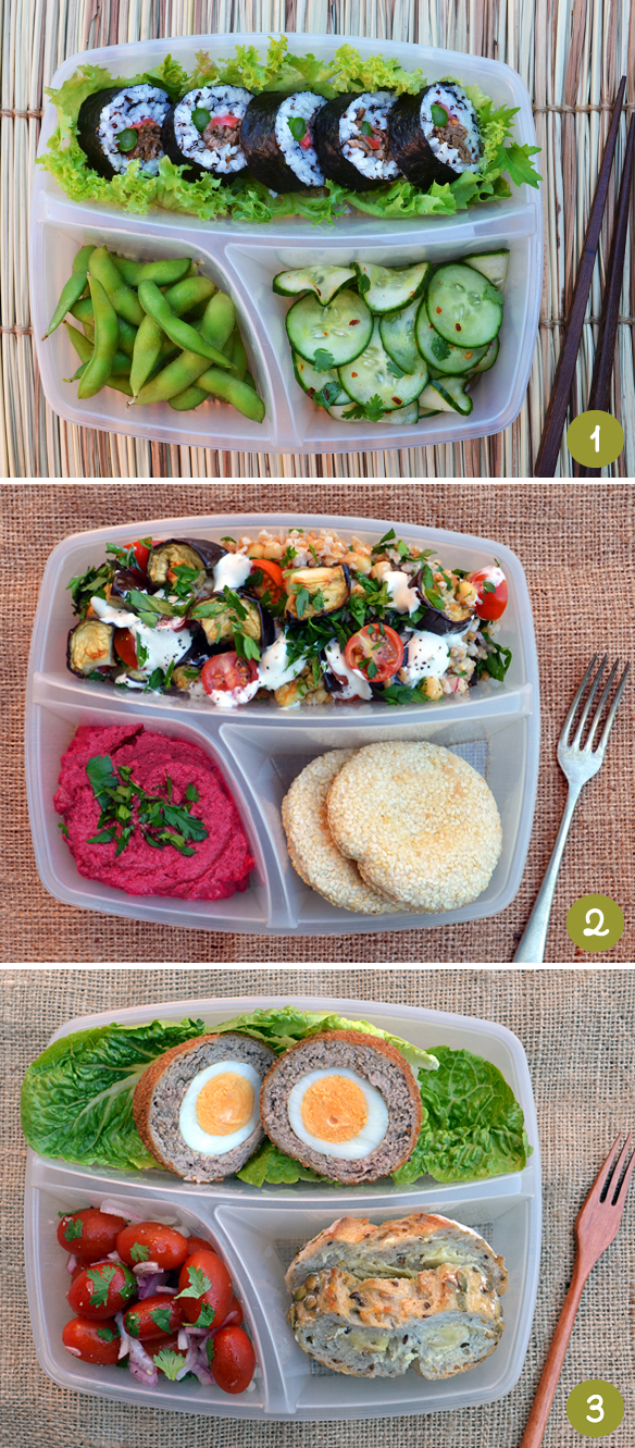 Bento box ideas 1-3. Via One Equals Two