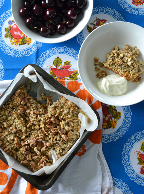 Baked oatmeal and fresh cherries