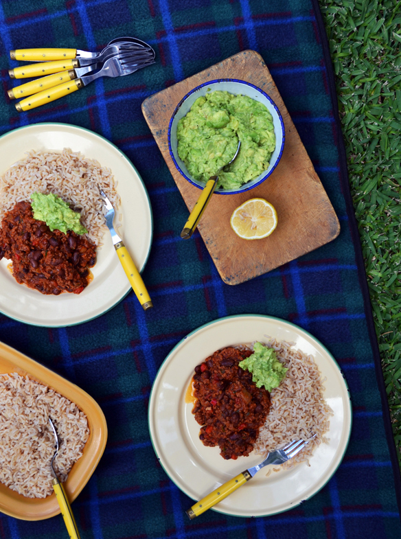 Chilli con carne with smashed avocado. One Equals Two.