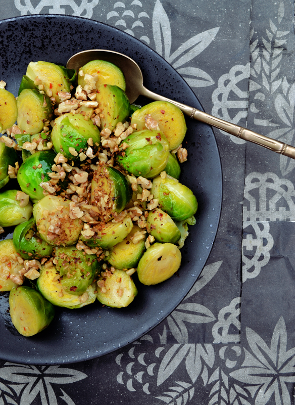 Brussels sprouts with toasted walnuts. One Equals Two.